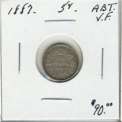 1887 5 Cents, Abt VF.
