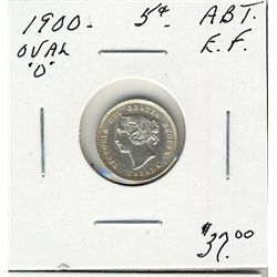 1900 5 Cents, Abt EF; Oval o
