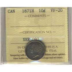 1871H 10 Cents ICCS VF-20.