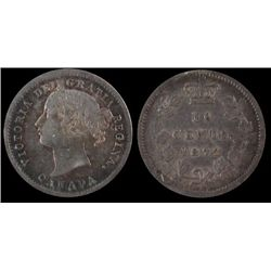 1872H 10 Cents, ICCS EF-40.  Better date.