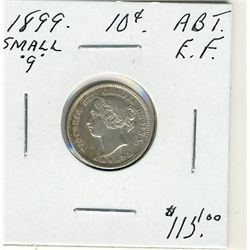 1899 10 Cents, Abt EF.