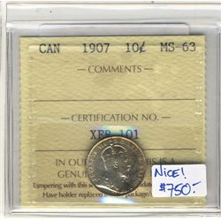 1907 10 Cents ICCS MS-63.