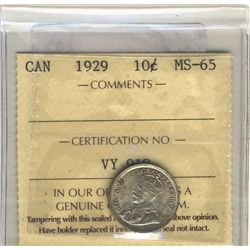 1929 10 Cents ICCS MS-65.  Light tone.