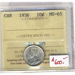 1936 10 Cents ICCS MS-65.  Full white.