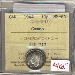 1944 10 Cents ICCS MS-65; Cameo.