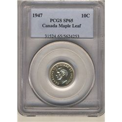 1947 10 Cents PCGS SP-65; Maple Leaf.