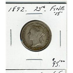 1892 25 Cents, Fine+.