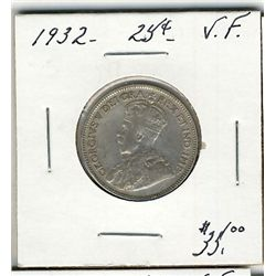 1932 25 Cents, VF.