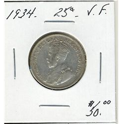 1934 25 Cents, VF.
