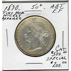 1870 50 Cents, Abt EF; Repaired.