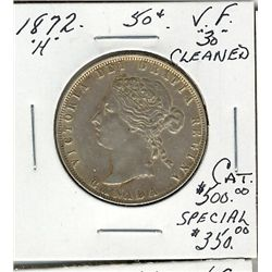 1872H 50 Cents, VF30; Cleaned.