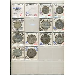 1916 50 Cents to 1952 1 Dollar.  Assortment of 13 pcs including 1916, 1919, 1938, 1939, 1953 50 Cent