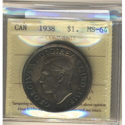 1938 1 Dollar ICCS MS-64.  Nicely toned.