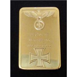 GERMAN NAZI DEUTSCHE REICHSBANK 999/1000 GOLD BAR - 24K GOLD LAYERED