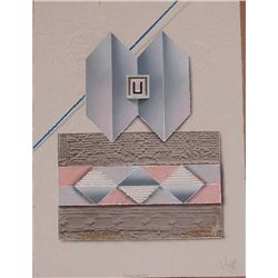 Luis Mazorra, Sand Castles, Signed Etching w Collage