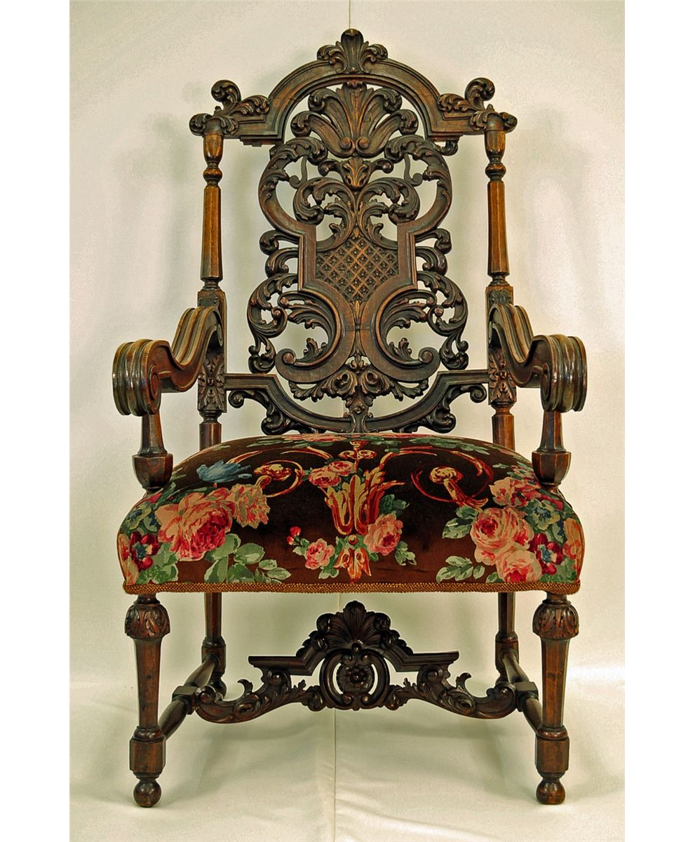 Antique Jacobean-Style Carved Fruitwood Armchair. Loading zoom - Antique Jacobean-Style Carved Fruitwood Armchair