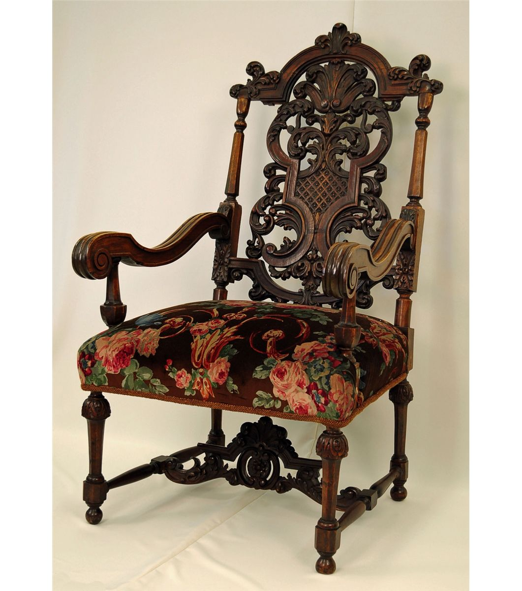Antique Jacobean-Style Carved Fruitwood Armchair