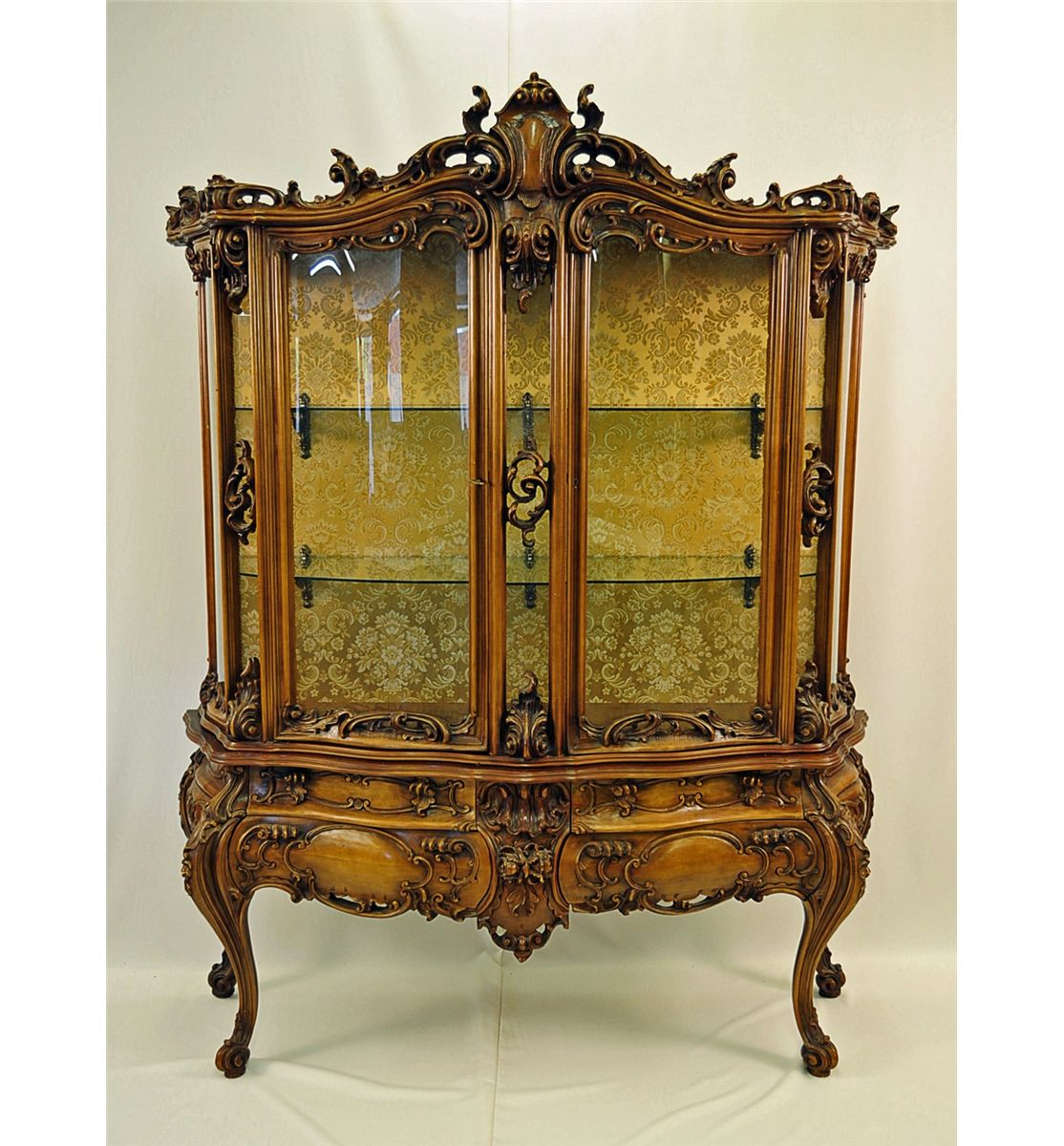 French rococo style vitrine with curved glass for French rococo style