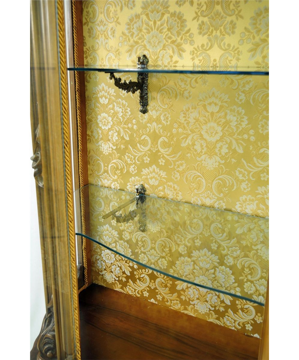 French Rococo Style Vitrine with Curved Glass