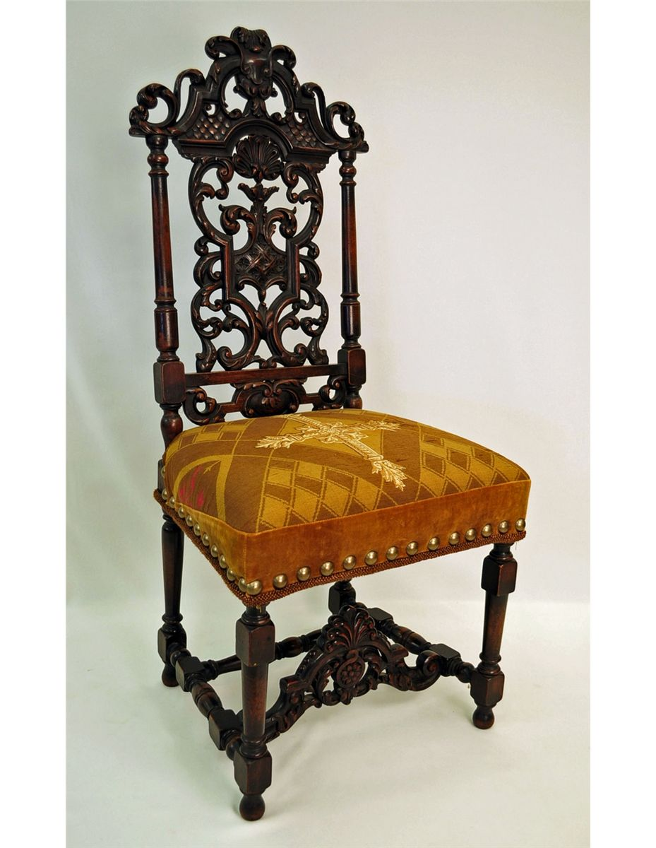 Antique Jacobean Style Carved Walnut Side Chair. Loading Zoom