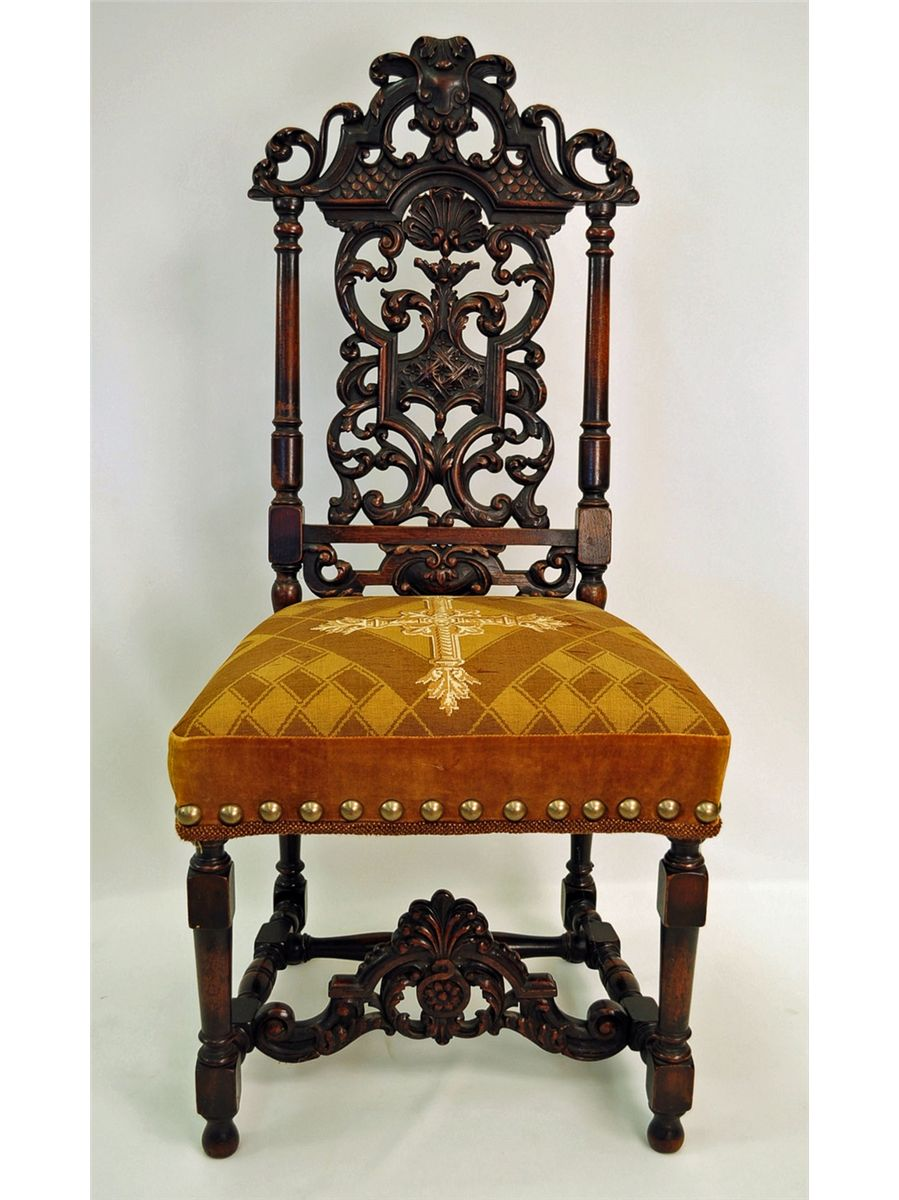 ... Image 2 : Antique Jacobean-Style Carved Walnut Side Chair ... - Antique Jacobean-Style Carved Walnut Side Chair