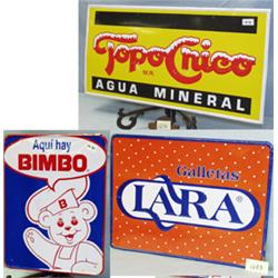 1 TOPO CHICO AGUA MINERAL METAL SIGN. H18 ,L35.5 . COND. FAIR WITH SCRATCHES WT 2LBS. 1 LARA META...