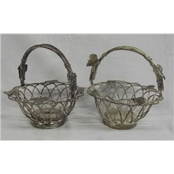 Pair of Silverplate Handled Bread Baskets