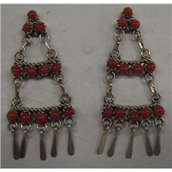 Zuni Sterling Coral Chandelier Earrings
