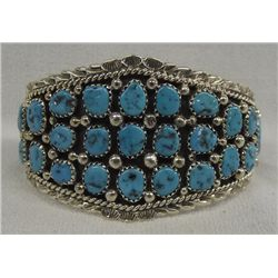 Navajo Sterling Turquoise Bracelet by D. Begay