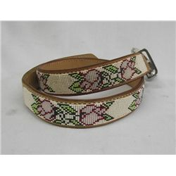 Plains Indian Beaded Leather Belt.
