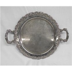 Ornate Silverplate Handled Tray