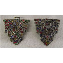 Art Deco Multi Rhinestone Belt Buckle
