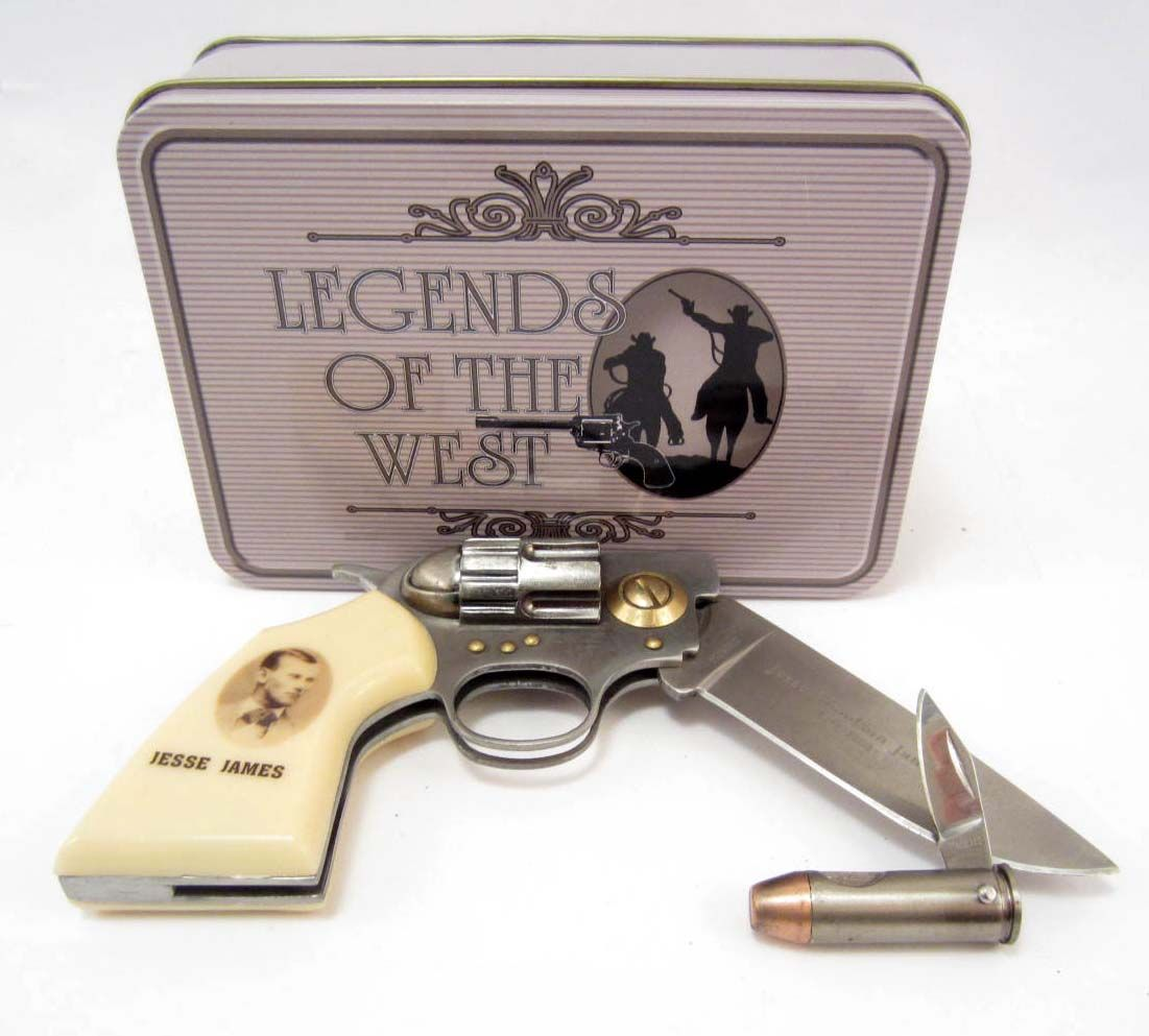 JESSE JAMES GUN KNIFE & BULLET KNIFE SET IN COLLECTOR'S TIN