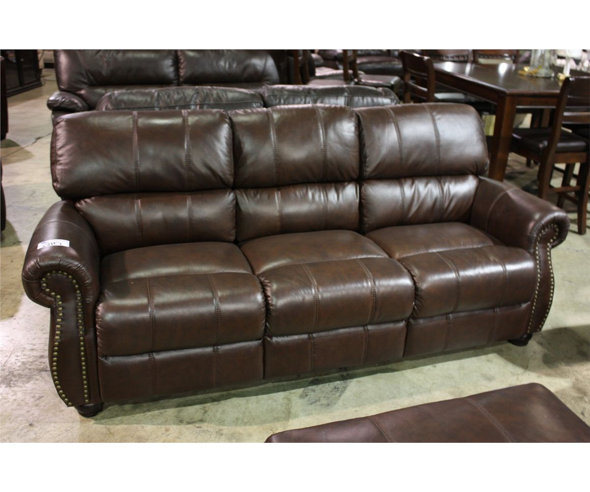 Traditional Brown Leather Studded Reclining Sofa Love Seat Chair  ~ Traditional Reclining Sofa