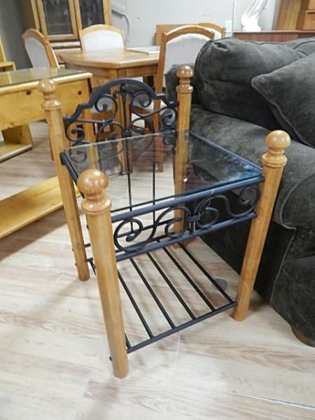 end table pine wrought iron with glass top new. Black Bedroom Furniture Sets. Home Design Ideas