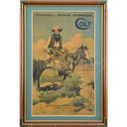 "COLT FIREARMS CO. ""TEX AND PATCHES"" SPANISH POSTER."