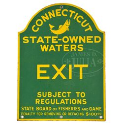 CONNECTICUT FISH AND GAME PORCELAIN SIGN.