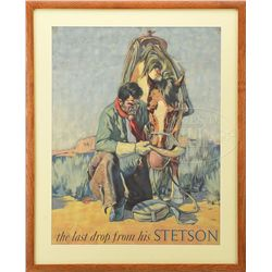 STETSON HATS POSTER WITH COWBOY AND HORSE.