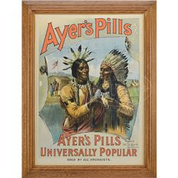 AYER'S PILLS AMERICAN INDIAN POSTER.