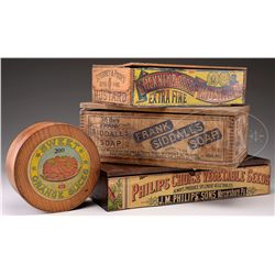 LOT OF FOUR WOOD STORE PRODUCT ADVERTISING BOXES.