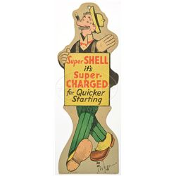 LOT OF FOUR SHELL GASOLINE CARTOON CHARACTER DIE-CUT SIGNS.