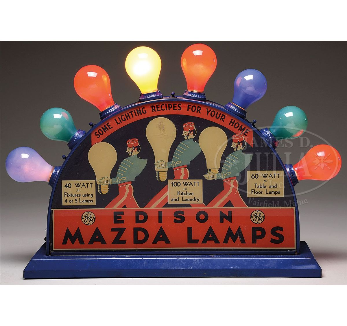 EDISON MAZDA LAMPS COUNTER TOP ELECTRIFIED BULB DISPLAY