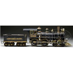 INCREDIBLE MACHINIST MODEL OF A LATE 19TH CENTURY BOSTON & MAINE LOCOMOTIVE AND TENDER.
