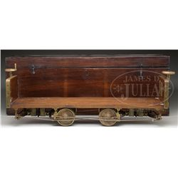 SALESMAN SAMPLE RAILROAD CAR WITH CARRYING CASE.