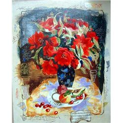 Alexander Wissotsky, Red Bouquet, Signed Serigraph