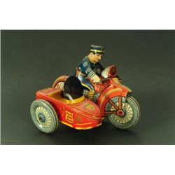 marx police siren motorcycle side car wind up toy. Black Bedroom Furniture Sets. Home Design Ideas