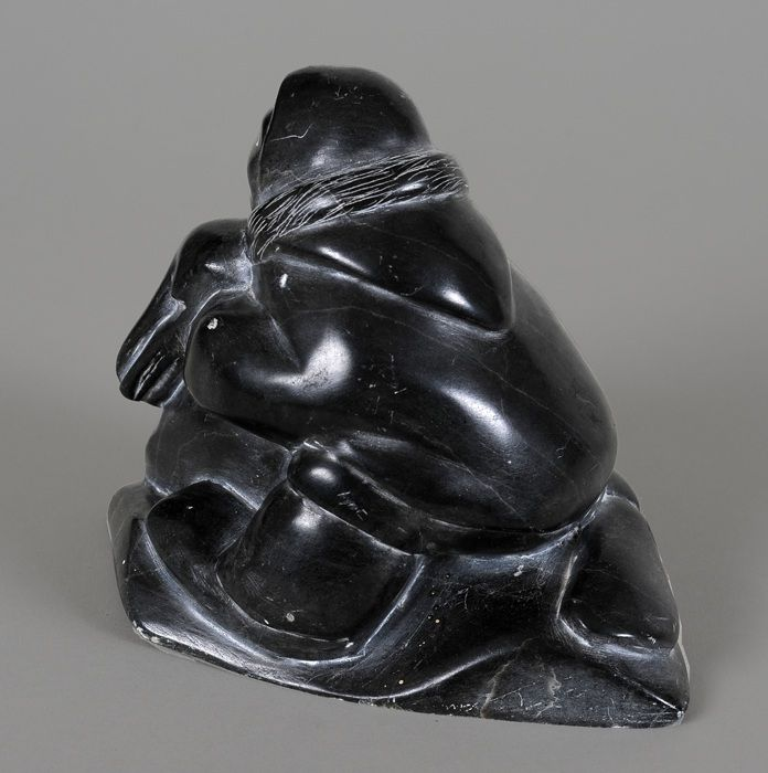 Inuit Eskimo Soapstone Carving Hunter Seal 1960: Inuit Soapstone Carving Of An Inuk Hunter With Seal By