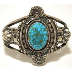 Old Pawn Navajo Spider Web Kingman Turquoise Sterling Silver Cuff Bracelet - Wallace Yazzie, Jr.