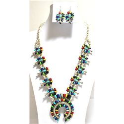 Navajo Multi-Stone Sterling Silver Squash Blossom Necklace & Earrings Set - Lisa Williams