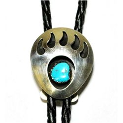Navajo Turquoise Sterling Silver Bear Paw Bolo - Virginia Johnson
